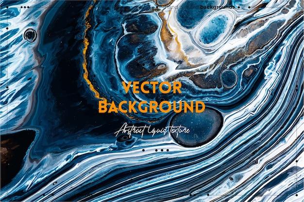 Fond de texture d'art fluide avec effet de peinture irisée abstraite illustration acrylique liquide avec flux et éclaboussures de peintures mélangées pour fond de site web noir bleu et couleurs débordantes d'or