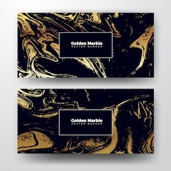 Fond de texture de bannière en marbre doré