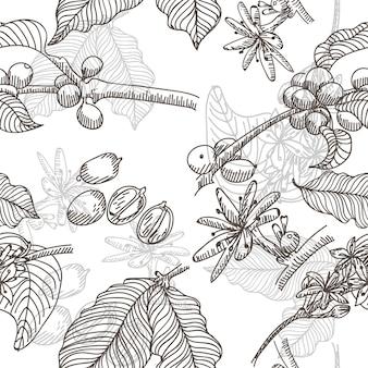 Fond de texture de café dessiné à la main