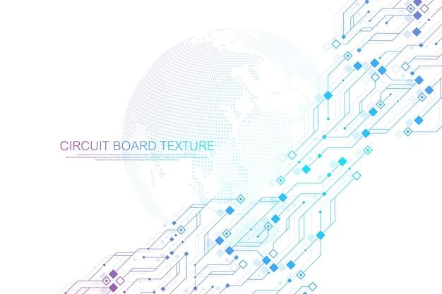 Fond de texture de carte de circuit imprimé abstrait de technologie. fond d'écran de bannière de circuit imprimé futuriste de haute technologie. illustration vectorielle de carte mère électronique d'ingénierie. concept de communication technologique