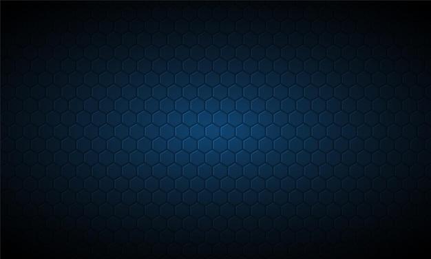 Fond texturé en fibre de carbone hexagone bleu foncé