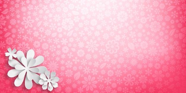 Fond avec une texture florale aux couleurs roses et plusieurs grandes fleurs en papier blanc avec des ombres douces