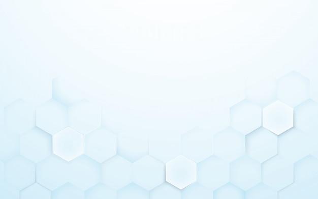 Fond de texture hexagones 3d bleu et blanc doux