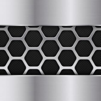 Fond de texture en métal noir et argent. motif en nid d'abeille. conception