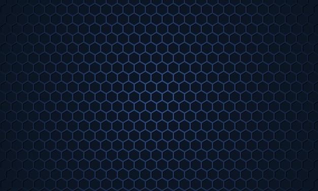 Fond texturé métallique en fibre de carbone hexagonale bleu foncé