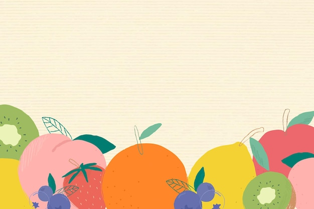 Fond texturé de papier de bordure de coin de fruits