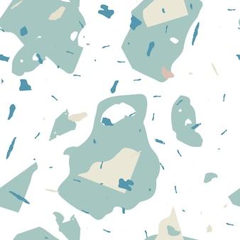 Fond de texture de sol classique bleu motif terrazzo sans couture fait de pierres naturelles granit qu...