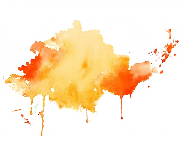 Fond de texture splash aquarelle jaune et orange