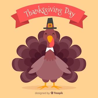 Fond de thanksgiving dessiné à la main avec la dinde