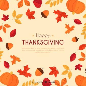 Fond de thanksgiving dessiné à la main avec des éléments de l'automne