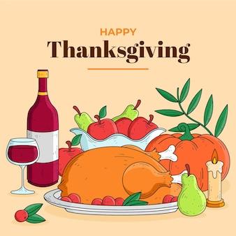 Fond de thanksgiving dessiné à la main