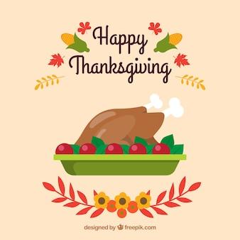 Fond de thanksgiving avec dinde délicieuse