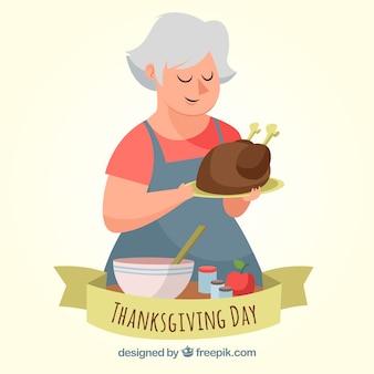 Fond de thanksgiving avec femme cuisine dinde