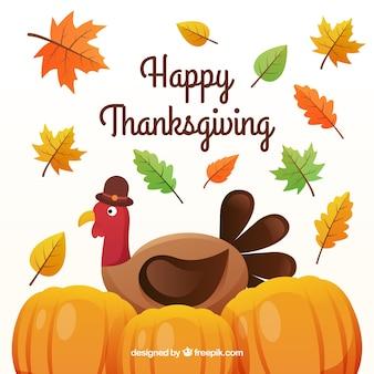 Fond de thanksgiving heureux avec la dinde et les citrouilles