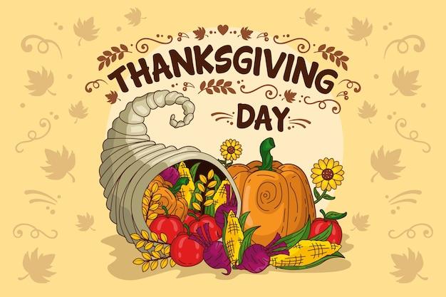 Fond de thanksgiving avec des légumes