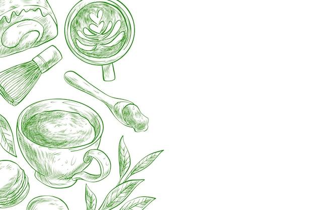 Fond de thé matcha dessiné à la main