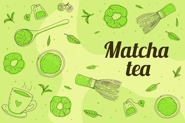 Fond de thé matcha dessiné