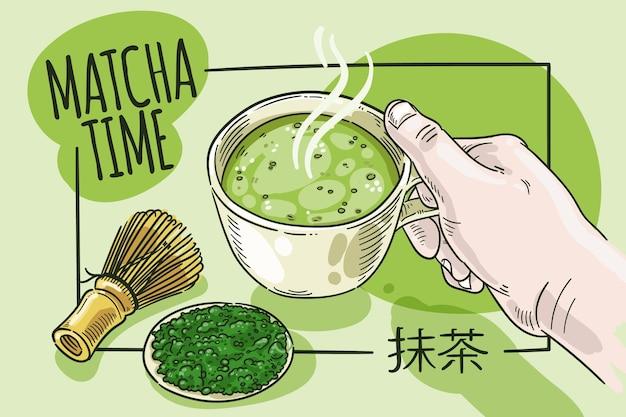 Fond de thé matcha style dessiné à la main