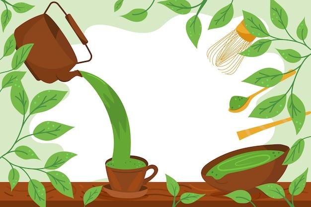 Fond de thé matcha