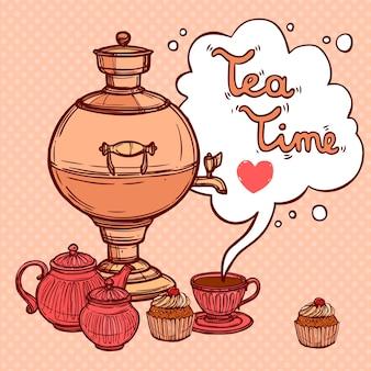 Fond de thé avec samovar