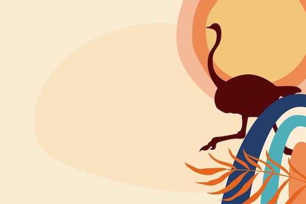 Fond de thème boho silhouette autruche