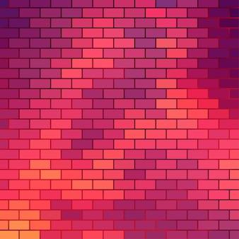 Fond sur le thème du coucher du soleil avec grille de briques