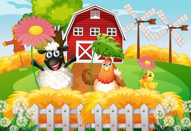 Fond de thème de ferme avec des animaux de ferme