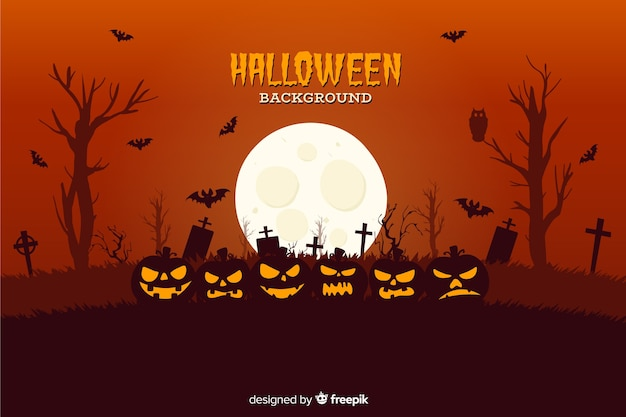 Fond avec thème halloween design plat