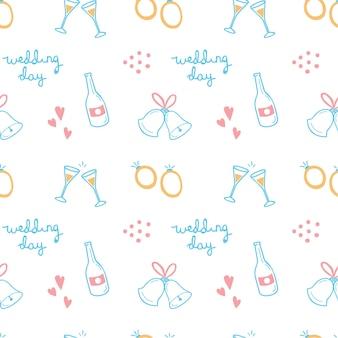 Fond de thème de mariage doodle