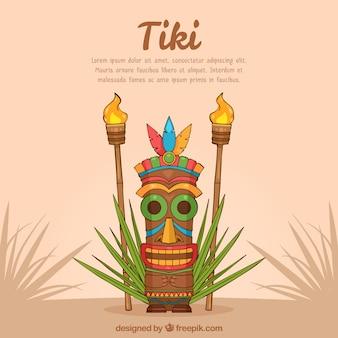 Fond tiki dessiné à la main avec masque et torches