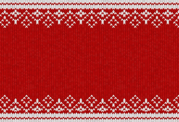 Fond tissé rouge et blanc avec motif textile tricoté