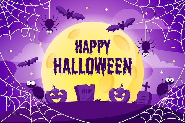 Fond de toile d'araignée halloween avec des araignées