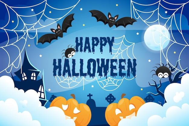 Fond de toile d'araignée halloween avec des chauves-souris