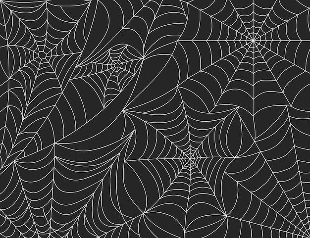 Fond de toile d'araignée d'halloween, éléments de décoration effrayants en toile d'araignée. silhouette de toiles d'araignée effrayantes, toile de fond de vecteur de fête à thème d'horreur. filet de suspension collant pour un événement de vacances gothique effrayant