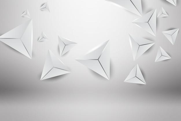 Fond de toile de fond gris 3d abstrait mur triangle.