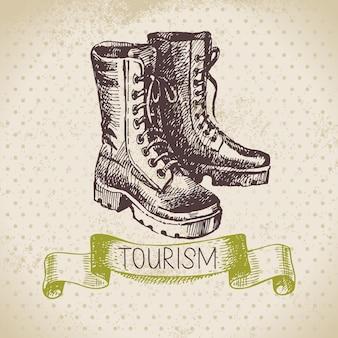 Fond de tourisme de croquis vintage. randonnée et camping illustration dessinée à la main