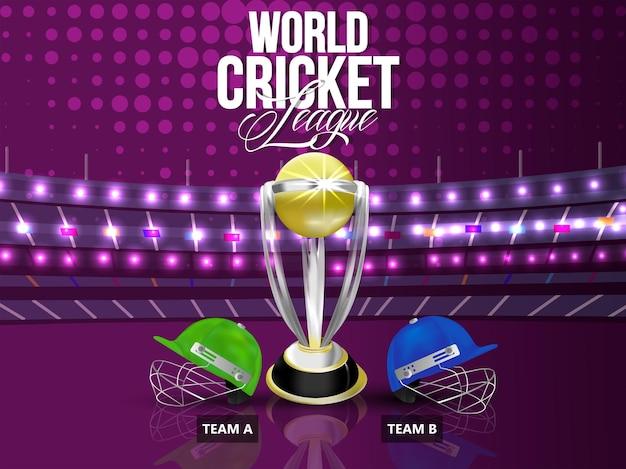 Fond de tournoi de ligue de championnat de cricket avec équipement de cricket