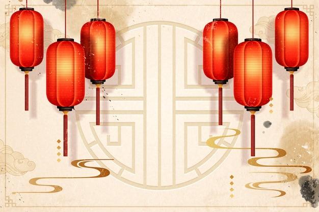 Fond traditionnel de l'année lunaire avec des lanternes en papier rouges suspendues et des traits d'encre, ton beige