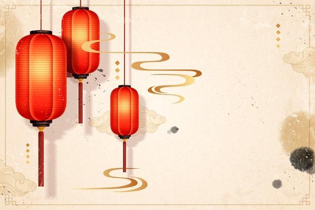 Fond traditionnel de l'année lunaire avec des lanternes en papier rouges suspendues et des traits d'encre