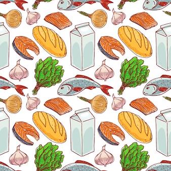 Fond transparent avec des aliments différents. poisson, lait, pain