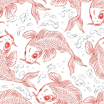 Fond transparent avec de belles carpes rouges et des éclaboussures d'eau