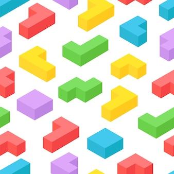 Fond transparent de blocs 3d isométrique