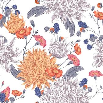 Fond transparent avec des chrysanthèmes