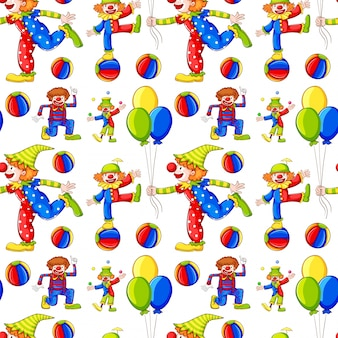 Fond transparent avec des clowns et des ballons