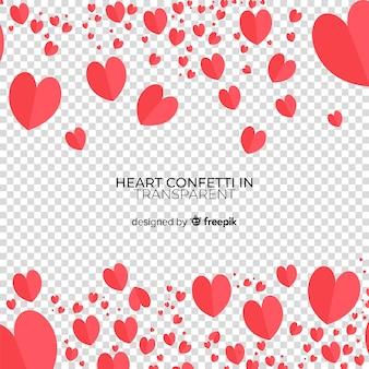 Fond transparent de confettis de coeur