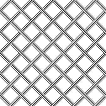 Fond transparent diagonale de grille en métal chromé