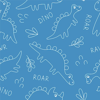 Fond transparent de dinosaures sur fond bleu. décrire les dinosaures dessinés à la main. idéal pour le tissu, l'emballage, le papier peint, les textiles, la décoration intérieure.