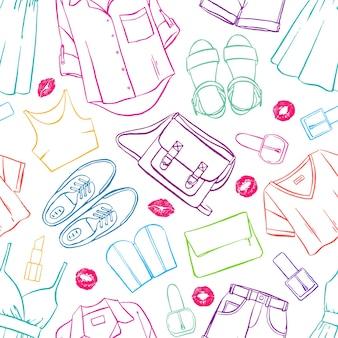 Fond transparent avec divers vêtements et accessoires colorés pour femmes