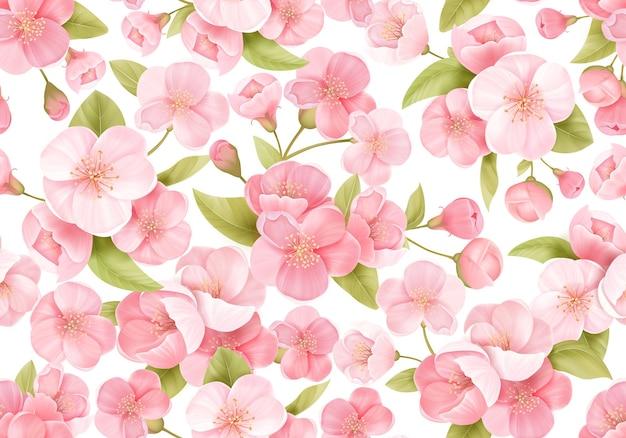 Fond transparent de fleur de sakura rose ou de cerisier à fleurs japonais. fleurs de printemps, motif de feuilles pour toile de fond de mariage, textile, tissu, texture exotique