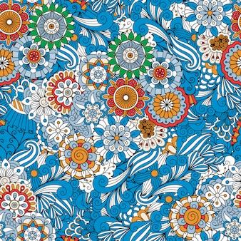 Fond transparent floral plein cadre bleu